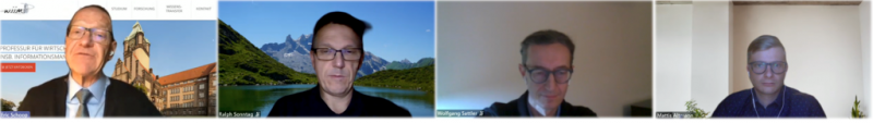Vier Kacheln mit Personen in einem Video-Call
