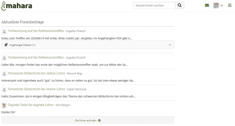 Screenshot der Website mahara