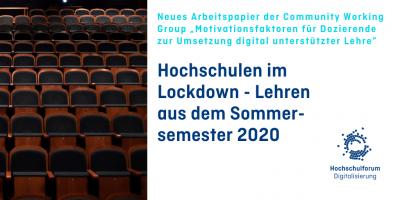 Foto von leerem Hörsaal mit Text: Hochschulen im Lockdown - Lehren aus dem Sommersemester 2020