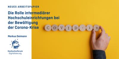 """Text: Neues Arbeitspapier. Die Rolle intermediärer Hochschuleinrichtungen bei Bewältigung der Corona-Krise. Bild: """"COVID-19"""" vor gelbem Hintergrund mit Hand."""
