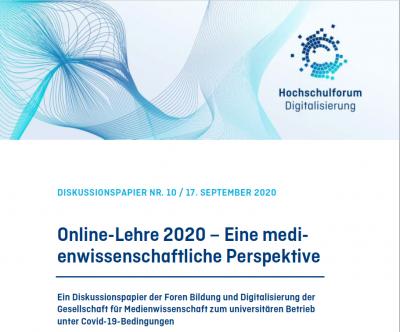 Cover des Diskussionspapier 10: Online-Lehre 2020 - eine medienwissenschaftliche Perspektive