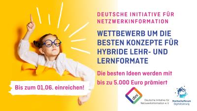 """Linke Seite: Kind mit Brille bricht durch gelben Hintergrund und meldet sich. Text auf rechter Seite: """"Wettbewerb um die besten Konzepte für Hybride Lehr- und Lernformate"""""""