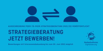 Blaue Grafik, Austausch zweier Menschen; Text: Strategieberatung - jetzt bewerben! Deadline: 20.Juni 2021