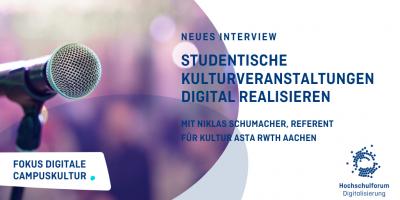 Bild: Mikrofon vor verschwommenen Hintergrund. Neues Interview. Studentische Kulturveranstaltungen Digital Realisieren. mit Niklas Schumacher, referent für Kultur Asta RWTH Aachen.