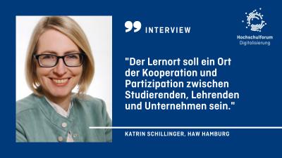 """Portrait der Autorin. Text: Interview. """"Der Lernort soll ein Ort der Kooperation und Partizipation zwischen Studierenden, Lehrenden und Unternehmen sein."""" Katrin Schilling von der HAW Hamburg."""