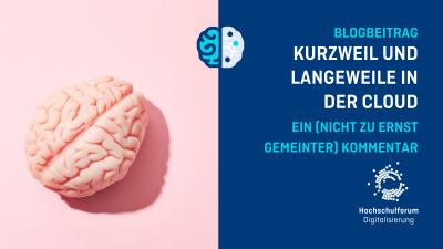 Bild: Abbildung von Gehirn auf rosa Hintergrund. Text: Blogbeitrag. Kurzweil und Langeweile in der Cloud. Ein nicht zu ernst gemeinter Kommentar.