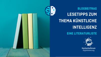 nebeneinanderstehende Bücher ohne Beschriftung, daneben Text: Lesetipps rund um künstliche Intelligenz