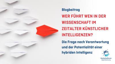 """links im Bild: Papierflieger weiß; ein roter Flieger führt an; rechts im Bild:Text """"Wer führt wen in der Wissenschaft im Zeitalter künstlicher Intelligenz?"""""""