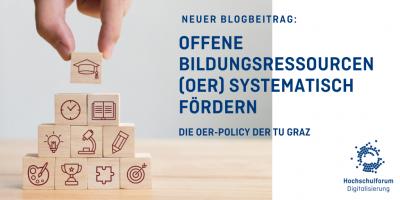 Beitragsbild: Offene Bildungsressourcen (OER) systematisch fördern - die OER-Policy der TU Graz. Würfel mit Symolen.