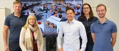 Das ViLeArn-Team (v.l.): Marc Erich Latoschik, Silke Grafe, Florian Kern, Gabriela Greger und Peter Kullmann. Es fehlt Jennifer Tiede.