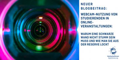 Bild: Close-Up einer Kamera-Linse. Neuer Blogbeitrag: Webcam-Nutzung von Studierenden in Online-Veranstaltungen: Warum eine schwarze Wand nicht stumm sein muss und wie man sie aus der Reserve lockt.