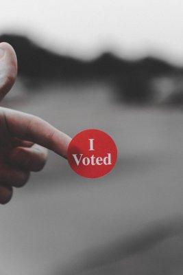 """Aufkleber mit der Aufschrift """"I voted"""""""